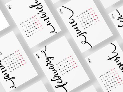NEW 2021 Year Calligraphy Calendar year grid template creative wall desktop art download concept design minimal diary organizer planner 2021 calendar 2021 calligraphy calendar