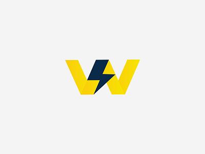 W Logo, Thunder Logo power thunderbolt energy electric w logo w letter thunder concept vector symbol logo design minimal flat