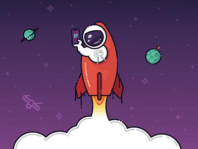 Spaceman Illustration - Welcome Screen app astronaut iphone ux ui onboarding mobile branding rocket spaceship illustration