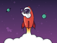 Spaceman Illustration - Welcome Screen app astronaut iphone ux ui onboarding mobile branding rocket spaceship illustration