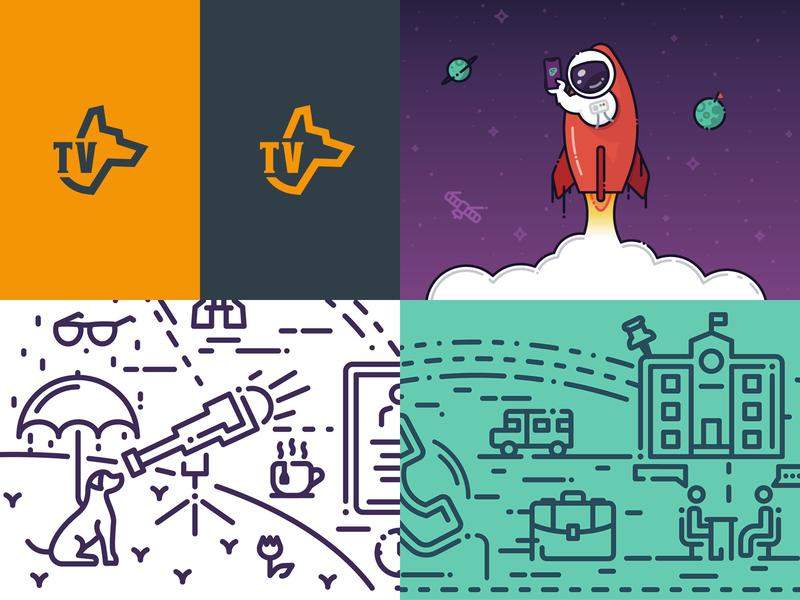 2018 Top Shots ux design app design art direction badge rocketship rocket illustration frontline education prodogtv line art illustration logo