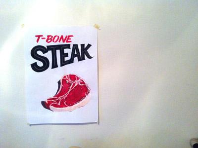 T-Bone Steak lettering hand painted signs showcards steak meat practice