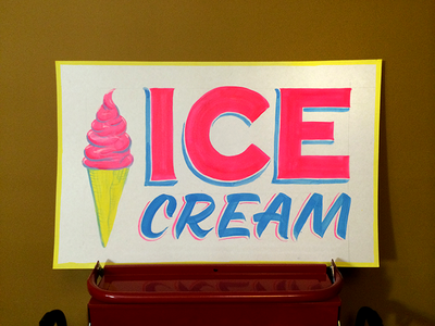 Ice Cream ice cream lettering sign painting showcards hand painted signs practice