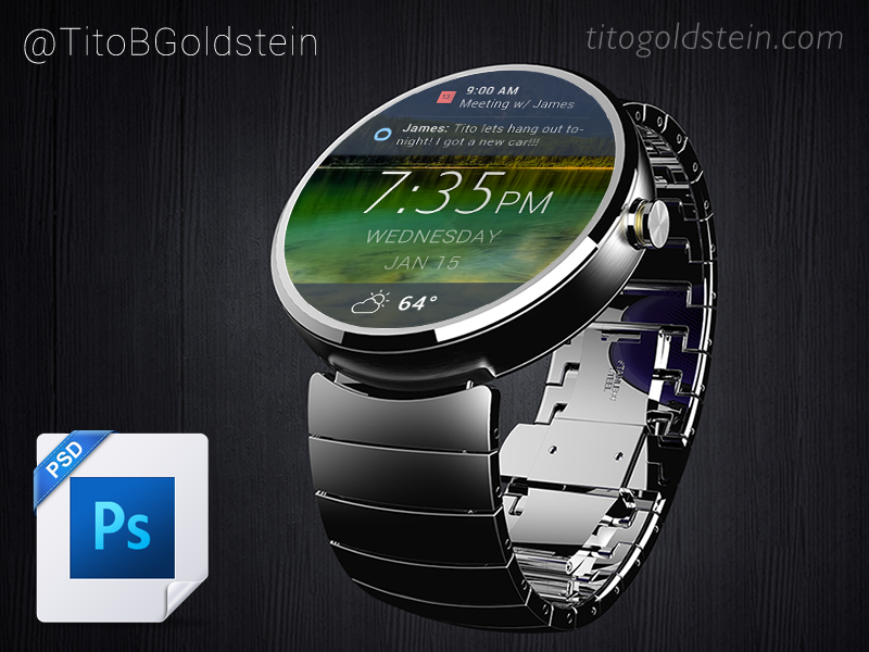 Android Wear - Wearable Mockup (Free PSD) psd android android wear iwatch free psd mockup