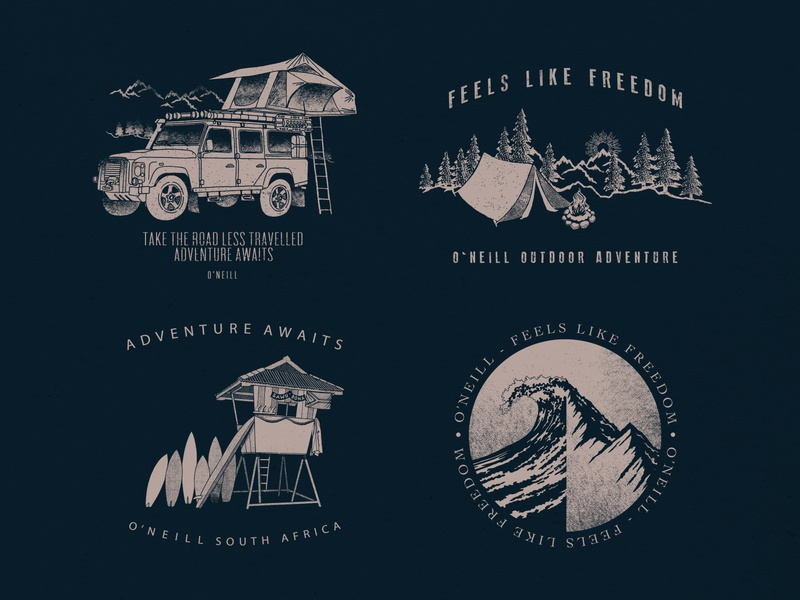 Oneill - South Africa Placement Prints surfing placement freedom waves mountains illustration flat design single colour destination adventure south africa