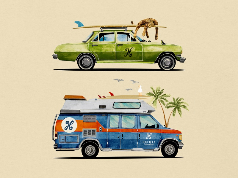 Holmes Beach Cars adventure leopard surfing surf tshirt design mixed media photoshop painting design south africa illustration