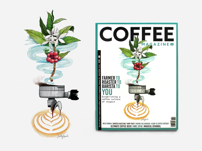 Coffee Mag Cover photoshop watercolour painting process bean to cup coffee pencil crayon watercolour illustration