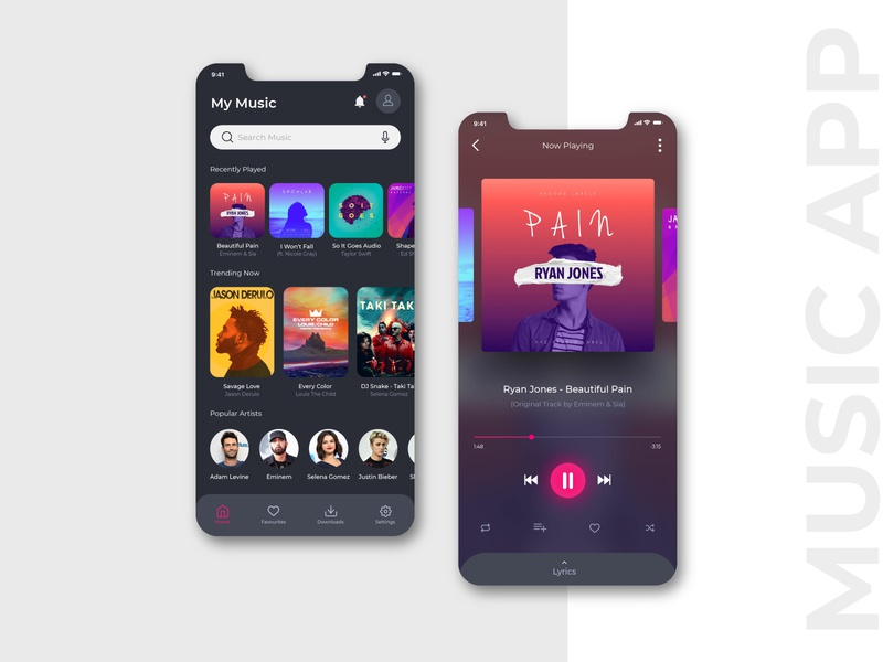 Music App (Dark Mode) dashboard mobile app dark app app design app micro interaction dark ui music player music app music trend dark mode dashboard ui userexperience userinterface uiux ux ui