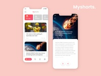 News App_Myshorts trend2020 animation microinteraction mobile app darkmode newsapp newsfeed appdesign uxdesign uidesign appscreens app ux ui