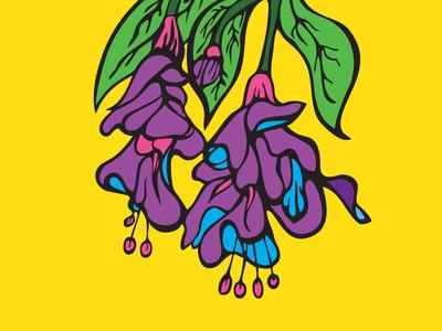 Purple Floral Sketch