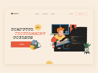 The concept of the website for programming courses courses programming illustration web design concept design concept ui figma