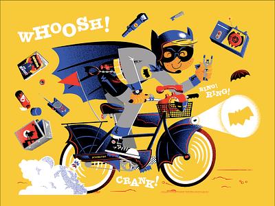 Bat Fan batman bicycle comic toys gadgets radio childhood costume fan role play illustration vector
