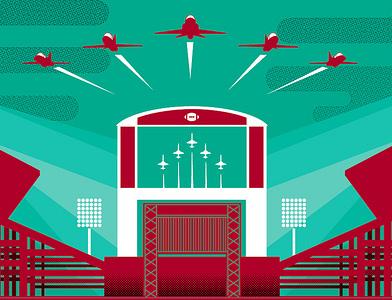 Go State flyover football go state team field jumbotron plane stadium msu game