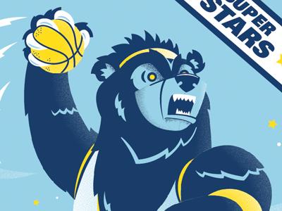 Grizz Trading Card basketball nba illustration screen print sports memphis grizzlies mascot slam dunk