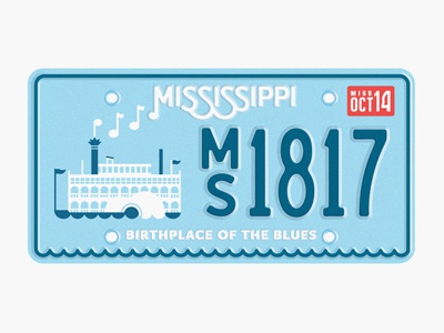 State Plates Project: Mississippi mississippi state plate steamboat music blues license plate south river