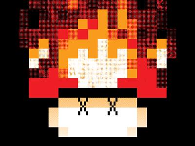 Dream Over band mushroom 8 bit gig poster burn fire mario nintendo