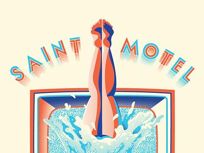Saintmotelevision Tour illustration band screen printing water diver television saintmotelevision saint motel music gig poster