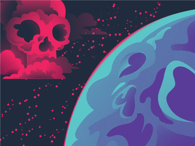 Skulls On Skulls On Skulls planet gig poster space clouds skull