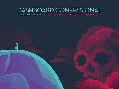 Dashboard Confessional Night 3 music dashboard confessional ocean gig poster skull clouds waves landscape emo screen print concert nashville