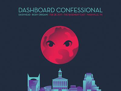 Dashboard Confessional Night 5 emo music city skyline seduction moon planet nashville gig poster dashboard confessional