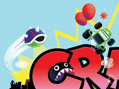 CRASH track koopa shell truck race crash video game nintendo cart mario kart mario