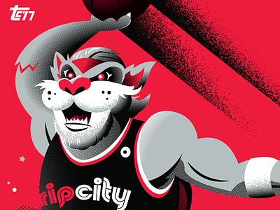 Blaze Trading Card card rose rip city slam dunk mascot basketball nba blaze trailblazers trail blazers portland