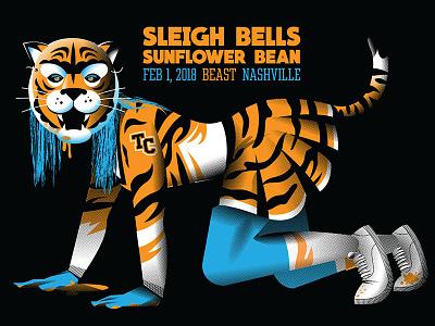 Sleigh Bells + Sunflower Bean nashville high school outfit costume mask indie music predator cheerleader tiger gig poster sunflower bean sleigh bells