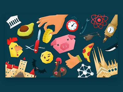 BDMuseum - Europa zonder controle - illustrations drone atom zeus dracula avocado stopwatch thumbs up chicken pig pizza sagrada familia whale big ben illustration illustrations museum exhibition europe