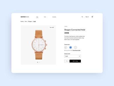 Product page fashion add to bag shop watch ui product page