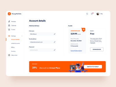 Account Details Dashboard clean ui minimalist account account details account settings dashboard uidesign simple clean interface illustration minimal dashboard app app dashboard ui concept design clean ui