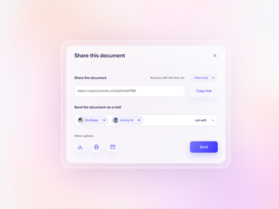 Share modal document glass effect modal window modal share minimal concept ui design clean