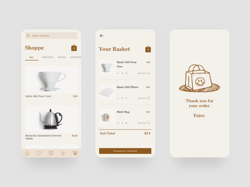 Half Full product design coffee app design app branding ux ui