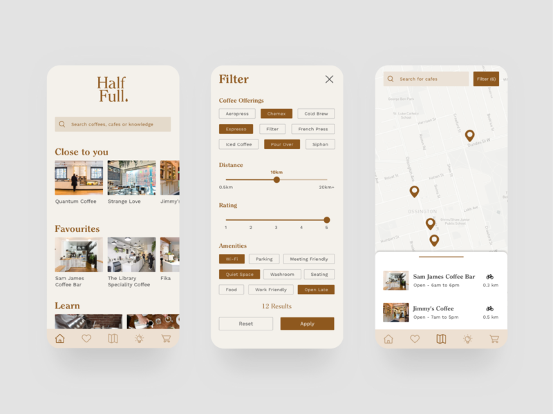 Half Full coffee product design app branding ux ui design