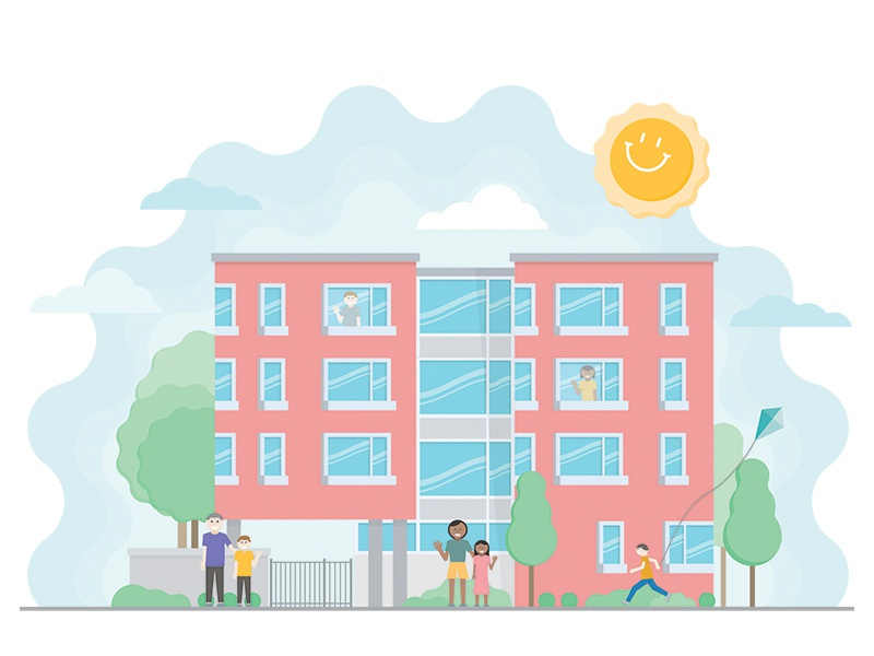 Ronald McDonald House clouds trees people building illustration vector