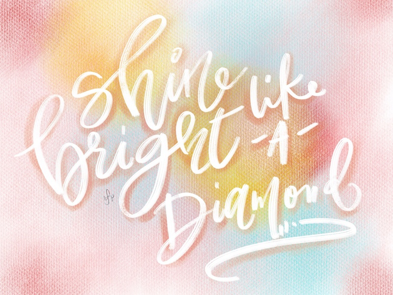 shine bright digital calligraphy handwritting procreate