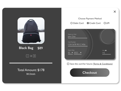 Credit card checkout Modal checkout payment madeinaffinity affinitydesigner modaldesign uidesign dailyui002 dailyui