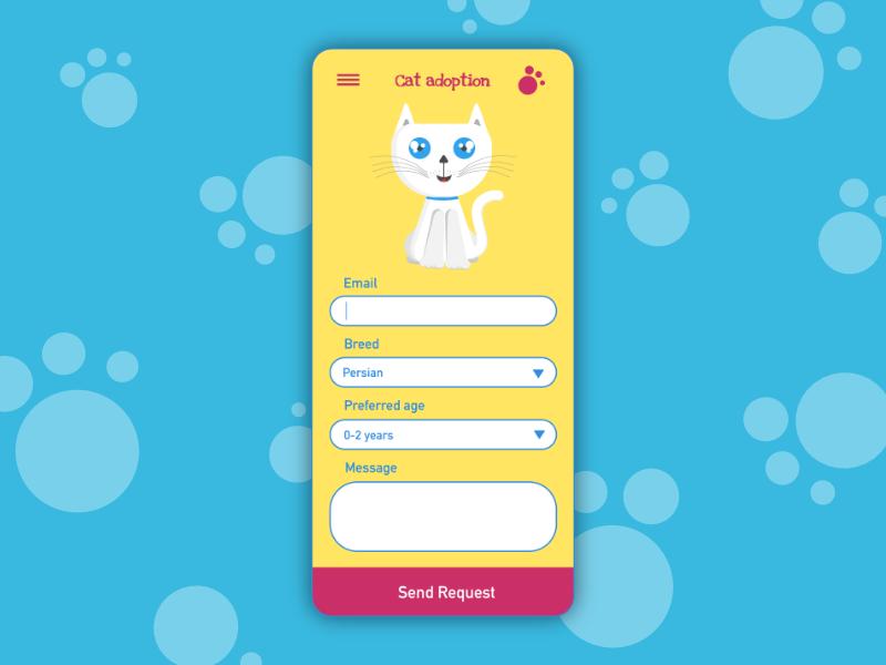 Contact Form Design cat contact form invisionstudio dailyuichallenge uidesign illustration appdesign design ui graphic  design dailyui028 dailyui