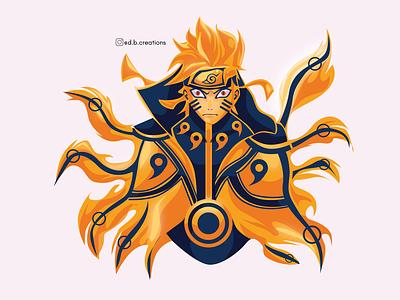 Naruto nine tails chakra mode illustraion vector artworks digitalartist digitalart vector digital 2d vector artwork vector art design illustration