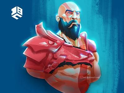 Kratos, God of war drawing illustraor illustration vector artwork vector art digital 2d vector digitalartist vector artworks design