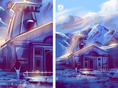 Kedarnath Temple landscape design landscape illustration landscape illustrations illustration art vector digitalart vector artworks digital 2d illustration digitalartist vector artwork vector art design