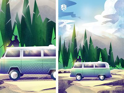 The Van in mountains drawing digital 2d digitalart vector artworks vector illustration digitalartist vector artwork vector art design