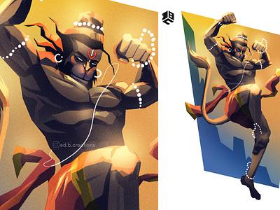 The Mighty Hanuman digital painting digital illustration digital art illustration art illustrations illustrator digitalart vector artworks branding digital 2d illustration digitalartist design