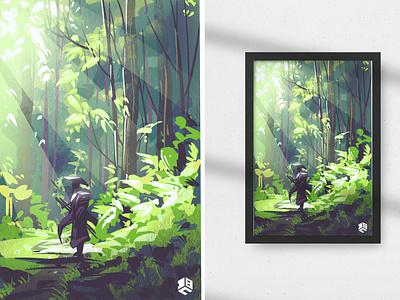 The Lone Samurai digitalartist vector digital 2d digital illustration illustrations digital art artwork illustration illustrator landscape illustration landscape procreate brushes procreate art procreate