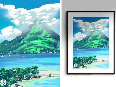 The Caribbean island artwork procreate brushes procreate procreate art landscape illustration landscape vector artwork vector art digital illustration digitalart digital 2d vector digitalartist