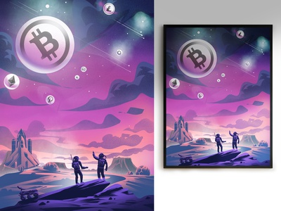 Crypto Universe digital 2d vector art illustrator illustration procreate graphic design ui branding vector artwork digitalartist design