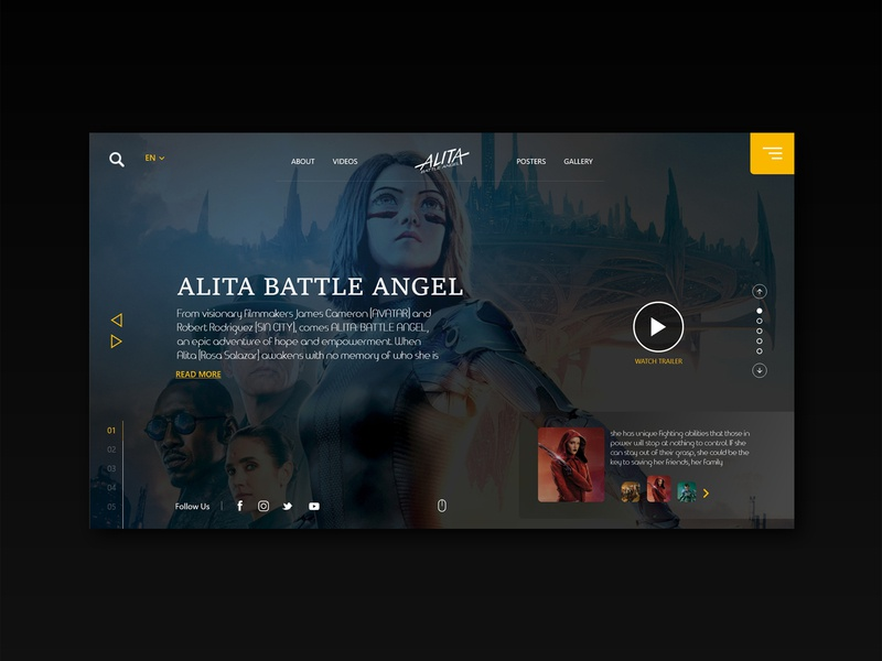 Alita movie UI concept webinterface movie webdesign desiginspiration uiux design web ux ui