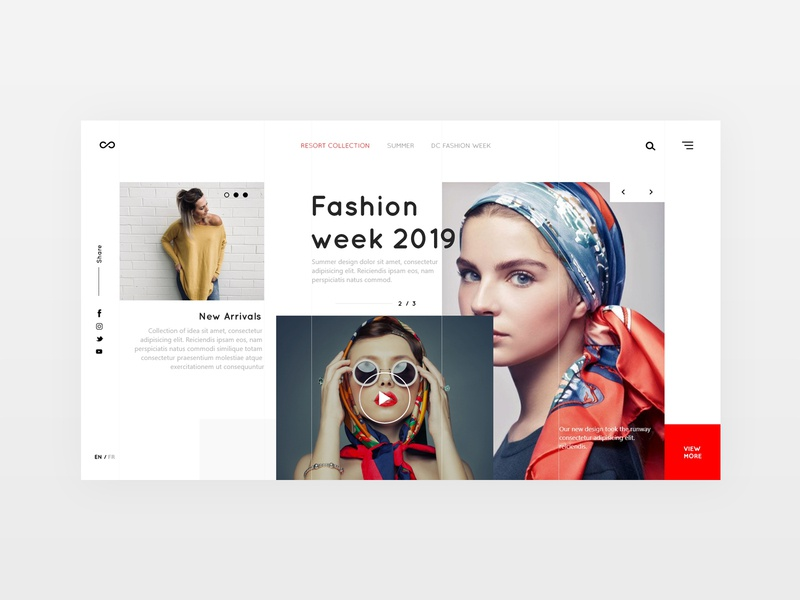 Fashion house landing page broken grid minimal fashion adobe xd landing page ux design desiginspiration web webdesign uiux design ui