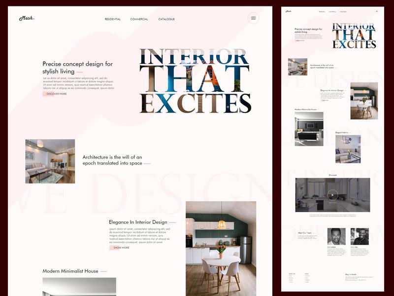 Interior Design landing page landing page interior minimal flat web desiginspiration inteface homepage uiux design webdesign