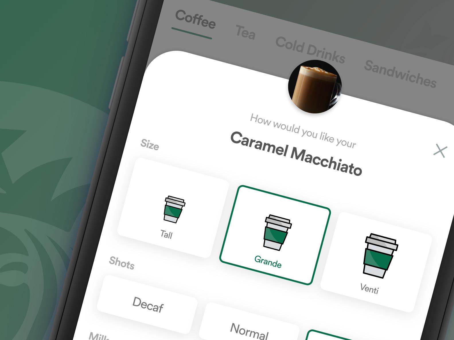 Sneak Peek select size starbucks coffee app coffee concept inspiration desiginspiration ui ux  ui ux design app