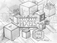 Draft for an illustration named Pixel Explosion